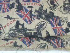 "London Utility Travel PostMark Flag Bridge Printed Butlap Craft Fabric 48 x 24"""