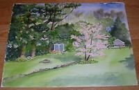 AMERICANA GARDEN FLOWERS NATURE SPRING DOGWOOD TREE READING MA WC ART PAINTING