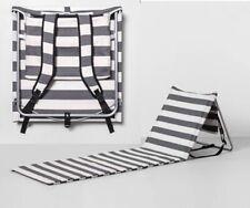 Padded Folding Metal Frame Travel Beach Lounge Mat Gray & White - Hearth & Hand