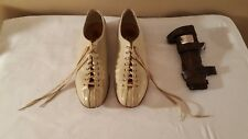Bowling Shoes Mens Size 9.5 Vintage Beige Bone Ivory Leather w/ wrist guard