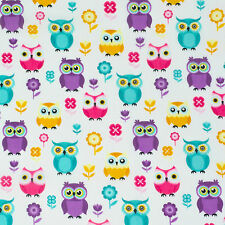 Funky Bright Owls, Poly Cotton fabric, 112 cm wide, sold per half metre