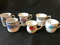 6 small Demi Tasse china cups Flowers Gold Rose Suzy's Zoo collection starters