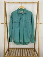VTG Levi's Men's Bold Teal Button Front Long Sleeve Work Shirt Nice Fade Size M