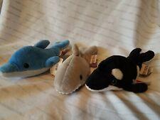 Set of 3 Gund Oceana Shark, Dolphin, Orca Whale Plush stuffed animals Rare 1997