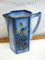 Antique Flow Blue Art Pottery Pitcher Flower Decorated Gold Trim