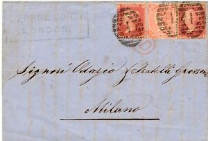 """GB 1864 QV 1 D (2 x) and 4 D w. corner lines tied by LONDON Numeral Cancel """"4"""""""