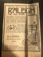 D5-1 ephemera 1914 Advert Dover Raleigh W J George Snargate Bicycle Steel