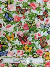 Patchwork Quilting Fabric Spring Roses Butterflies Cotton Fq 50 X 55cm New