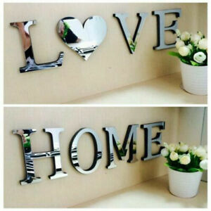 4 Letters Love Furniture Mirror Wall Sticker Decorative Art Wedding Decor DIY