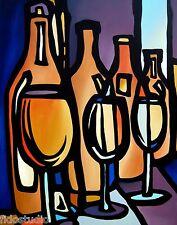 LINEUP - Original Abstract Painting Modern Art Wine Print decor by Fidostudio