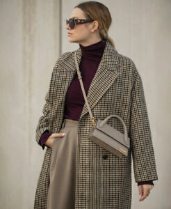 ZARA AW20/21 OVERSIZED LONG WOOL BLEND DOUBLE-BREASTED HOUNDSTOOTH COAT ~ M