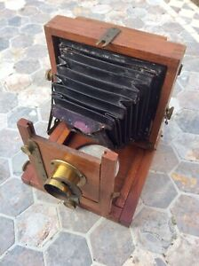 Antique Rare 1905 Marlow Brothers MB No.1 Mahogany Field Plate Camera,Brass Lens