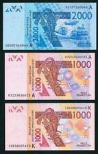 THREE WEST AFRICAN STATES  2 X 1000 2000 FRANCS BANKNOTES MINT UNCIRCULATED 2003