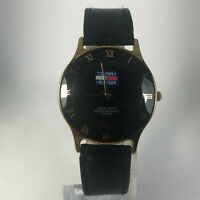 Vintage Tommy Hilfiger Mens Black Dial Black Leather Band Quartz Analog watch
