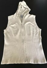 Nike Women's Beige Full Zip Cotton Vest Top Hooded Size M(8-10)