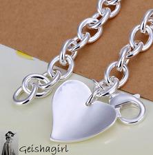 Silver Plated Jewellery Fashion Single Heart Tag Bracelet Bangle UK Seller