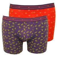 Scotch & Soda 2-Pack Animal Print Men's Boxer Briefs Gift Set, Coral/Purple