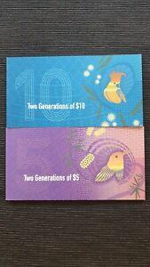 AUSTRALIA $10 & $5 SET OF 2 TWO GENERATIONS RBA FOLDERS x 4 UNC Banknotes