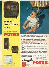 PUBLICITE ADVERTISING 095  1962  POTEZ   appareils chauffage à mazout