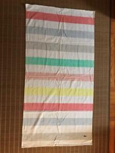 """LACOSTE BEACH TOWEL 72"""" X 36"""" STRIPE MULTI-COLOR 100% COTTON [NEW]"""