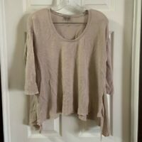 J.Jill Women's Tan Scoop Neck 3/4 Sleeve Linen Blend Top size MP