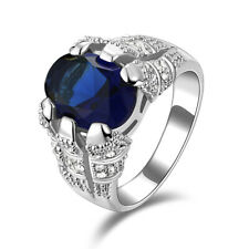 Fashion Size 11 Gorgeous Blue Sapphire 18K Gold Filled Mens Engagement Rings