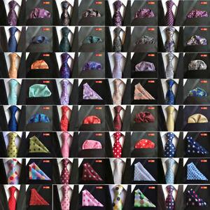 Men High Grade Necktie Paisley Polka Dots Tie Handkerchief Pocket Square Set