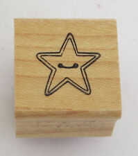 STAR Button Rubber Stamp Cute As A Wood Mounted DIY Kids Sewing Crafts EUC