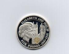 Lote K Plata prueba de £ 5 Guernsey Oro Escudo Bodas De Oro 1997