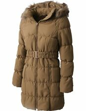 Womens COAT FUR LINED Jacket Warm Quilted Insulated Puffer Winter Parka Belt