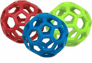 JW Pet HOLEE Roller Ball Dog Toy, Small 3.5 inch, Assorted Colors (Pack of 3)