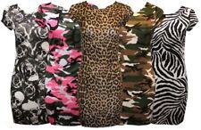 Womens Ladies Cap Sleeve Midi Printed Bodycon Stretch Mini Dress Midi Tops