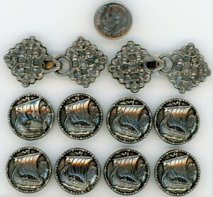 8 Pewter Viking Ship Buttons & 2 Sweater Clasps from Norway