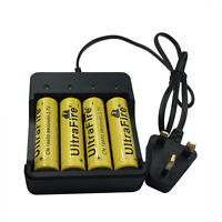 4X 18650 9800mAh 3.7V Li-ion Rechargeable Battery With Fast 4.2V Charger UK Plug