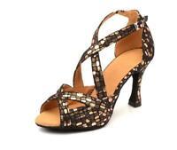 Scarpe da ballo latino donna sandali su misura oro tessuto salsa latino american