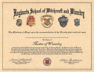 Harry Potter Hogwarts School Certificate Of Graduation Prop/Replica