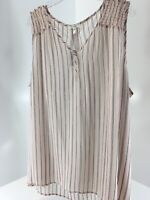 Maurices Womens Plus Stripe Smocked Shoulder Sheer Tank Pale Pink Size 3 NWT=