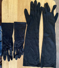 2 Pair Of Vtg Black Ladies Dress/Formal Gloves With Stitched Thread Decorations