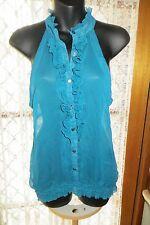 VINTAGE Style ~ Sheer Aqua Cutaway Shoulders ~ TOP * Size 12 * REDUCED !!