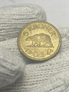 (0440) (RARE) 1944 Greenland 5 Kroner in ABOUT UNCIRCULATED CONDITION