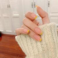24pcs Nude simple Long False Glue Nails Art Acrylic Full Cover Tips ManicureBWU