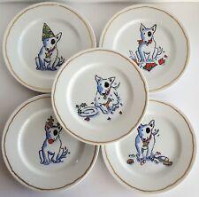 """5 Williams Sonoma TROUBLE 7 3/4"""" Salad Plates Dessert Hors d'oeuvre Porcelain"""