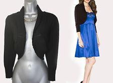 MONSOON Black Adele Pointelle Scallop Collar 3/4 Sleeves Shrug Bolero SMALL