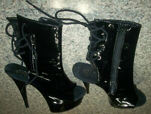 PLEASER Peep Toe Lace Up Platform Stiletto Ankle Boot High Heels Size 9 - SEXY