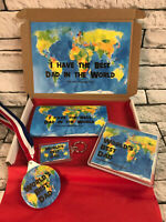 Personalised Best Dad in the World Hamper - Chocolate Medal Keyring Fathers Day