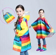 Rainbow Back Book Storage Bag Girls Kids Boys Child Rain Poncho Cape Coat S~XL A