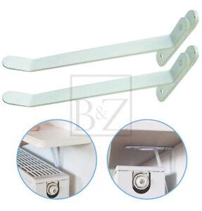 B&Z Energy Saving Radiator Shelf Brackets in White (Pair) - No Drilling Required