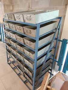 Tote Pan Rack with 32 Steel Tote Pans