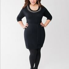 Lane Bryant Embellished Rhinestone Sweater Dress MISSING BELT 22 24 3X