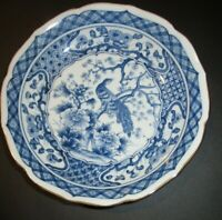 """Japanese Antique Blue/White Floral Peacock Plate Signed Scalloped Edges 8"""" Diam"""